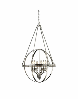 10193/6 ELK Lighting Hemispheres 6-Light Chandelier in Polished Nickel