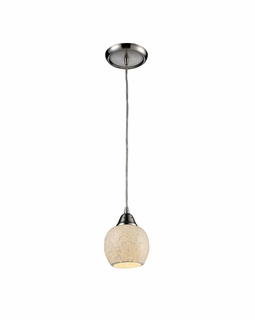10208/1CLD Elk Fission 1 Light Mini Pendant In Satin Nickel And Cloud Glass