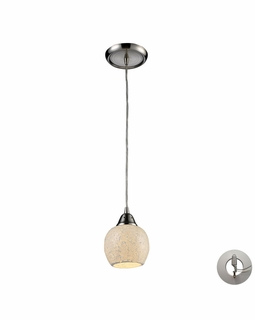 10208/1CLD-LA Elk Fission 1 Light Mini Pendant In Satin Nickel And Cloud Glass - Includes Recessed Lighting Kit