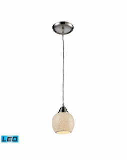 10208/1CLD-LED Elk Fission 1 Light LED Mini Pendant In Satin Nickel And Cloud Glass
