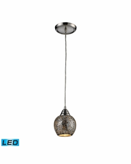 10208/1SLV-LED Elk Fission 1 Light LED Mini Pendant In Satin Nickel And Silver Glass