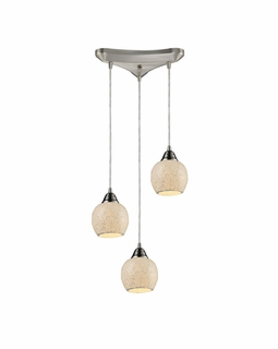 10208/3CLD Elk Fission 3 Light Mini Pendant In Satin Nickel And Cloud Glass