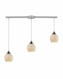 10208/3L-CLD Elk Fission 3 Light Mini Pendant In Satin Nickel And Cloud Glass