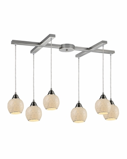 10208/6CLD Elk Fission 6 Light Mini Pendant In Satin Nickel And Cloud Glass