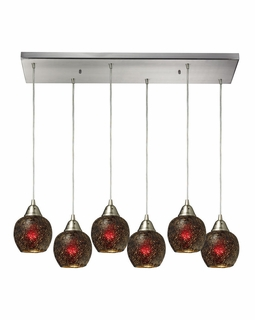 10208/6RC-WN Elk Fission 6 Light Mini Pendant In Satin Nickel And Wine Glass