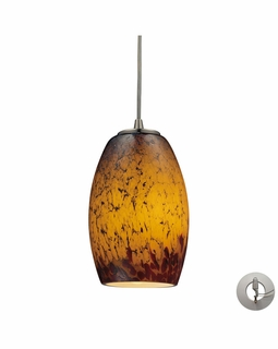 10220/1SUN-LA Elk Maui 1 Light Mini Pendant In Satin Nickel And Sunset Glass - Includes Recessed Lighting Kit