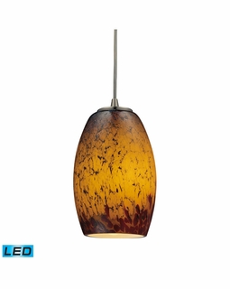 10220/1SUN-LED Elk Maui 1 Light LED Mini Pendant In Satin Nickel And Sunset Glass