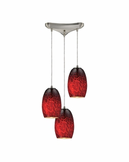 10220/3FBR ELK Lighting Maui 3-Light Triangular Pendant Fixture in Satin Nickel with Fire Burnt Glass