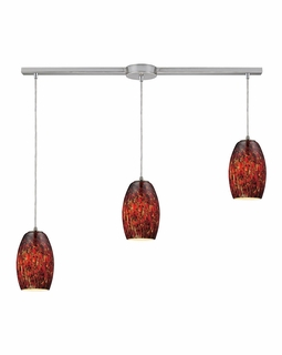 10220/3L-EMB ELK Lighting Maui 3-Light Linear Pendant Fixture in Satin Nickel with Embers Glass