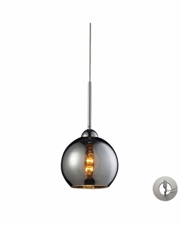 10240/1CHR-LA ELK Lighting Cassandra 1-Light Mini Pendant in Polished Chrome with Chrome-plated Glass - Includes Adapter Kit