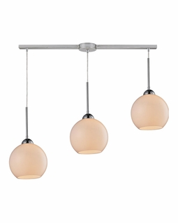 10240/3L-WH ELK Lighting Cassandra 3-Light Linear Pendant Fixture in Polished Chrome with White Glass