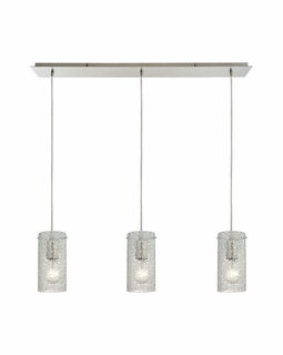 10242/3LP ELK Lighting Ice Fragments 3-Light Linear Pendant Fixture in Satin Nickel with Clear Glass