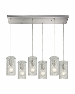 10242/6RC-CL ELK Lighting Ice Fragments 6-Light Rectangular Pendant Fixture in Satin Nickel with Clear Glass