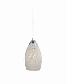 10245/1 ELK Lighting Etched Glass 1-Light Mini Pendant in Polished Chrome with White Etched Glass