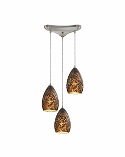 10253/3BC ELK Lighting Geval 3-Light Triangular Pendant Fixture in Satin Nickel with Burnt Caramel Glass