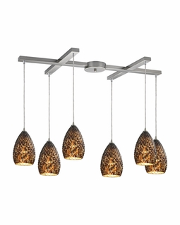10253/6BC ELK Lighting Geval 6-Light H-Bar Pendant Fixture in Satin Nickel with Burnt Caramel Glass