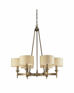 10263/6 ELK Lighting Pembroke 6-Light Chandelier in Antique Brass with Tan Fabric Shades