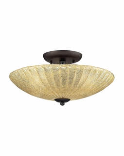10281/3 Transitional Luminese 3 Light Semi Flush In Aged Bronze