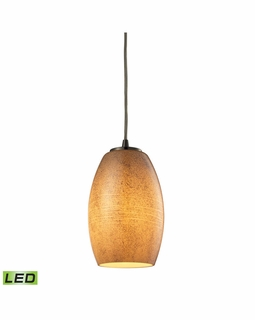 10330/1TB-LED ELK Lighting Andover 1-Light Mini Pendant in Satin Nickel with Textured Beige Glass - Includes LED Bulb
