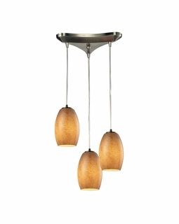10330/3TB ELK Lighting Andover 3-Light Triangular Pendant Fixture in Satin Nickel with Textured Beige Glass