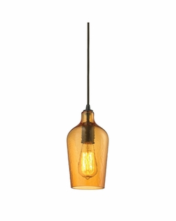 10331/1HAMB ELK Lighting Hammered Glass 1-Light Mini Pendant in Oiled Bronze with Hammered Amber Glass