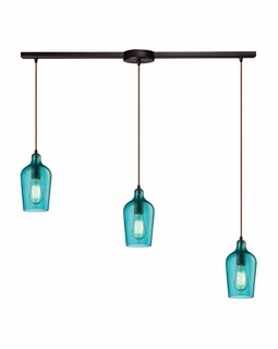 10331/3L-HAQ ELK Lighting Hammered Glass 3-Light Linear Pendant Fixture in Oiled Bronze with Hammered Aqua Glass