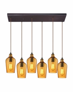 10331/6RC-HAMB ELK Lighting Hammered Glass 6-Light Rectangular Pendant Fixture in Oiled Bronze with Hammered Amber Glass