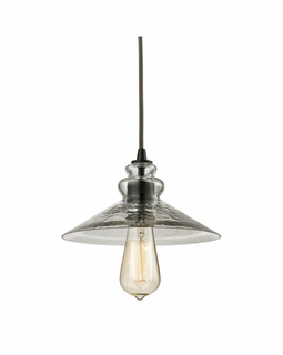 10332/1 ELK Lighting Hammered Glass 1-Light Mini Pendant in Oiled Bronze with Hammered Clear Glass
