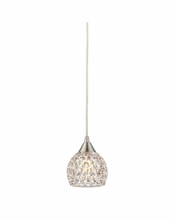 10341/1 ELK Lighting Kersey 1-Light Mini Pendant in Satin Nickel with Clear Crystal