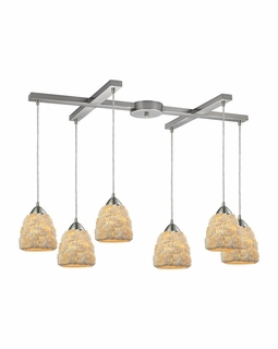 10414/6 Transitional Shells 6 Light Mini Pendant In Satin Nickel
