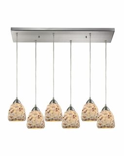 10415/6RC Transitional Shells 6 Light Mini Pendant In Satin Nickel