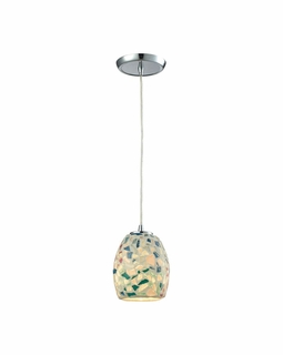 10419/1 Transitional Glass Mosaic 1 Light Mini Pendant In Polished Chrome