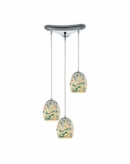 10419/3 Transitional Glass Mosaic 3 Light Mini Pendant In Polished Chrome