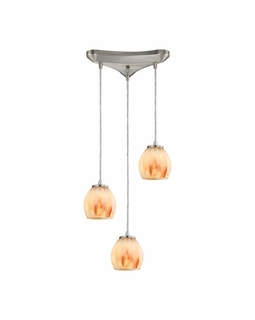 10421/3TS ELK Lighting Melony 3-Light Triangular Pendant Fixture in Satin Nickel with Frosted Glass