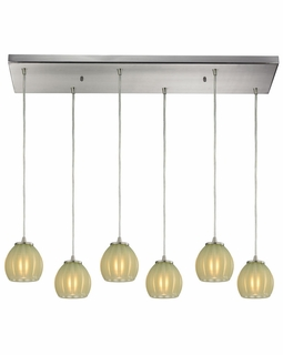 10421/6RC-JD Elk Melony 6 Light Mini Pendant In Satin Nickel And Jade Glass