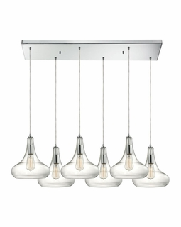 10422/6RC ELK Lighting Orbital 6-Light Rectangular Pendant Fixture in Polished Chrome with Clear Glass