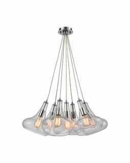 10422/7SR ELK Lighting Orbital 7-Light Nesting Pendant Fixture in Polished Chrome with Clear Glass