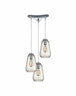 10423/3 ELK Lighting Orbital 3-Light Triangular Pendant Fixture in Polished Chrome with Clear Glass