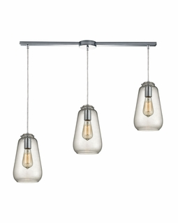 10423/3L ELK Lighting Orbital 3-Light Linear Pendant Fixture in Polished Chrome with Clear Glass