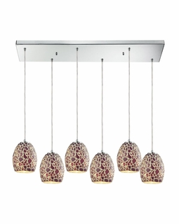 10429/6RC Elk Glass Mosaic 6 Light Mini Pendant In Polished Chrome