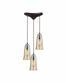 10431/3HAMP ELK Lighting Hammered Glass 3-Light Triangular Pendant Fixture in Oiled Bronze with Amber-plated Hammered Glass