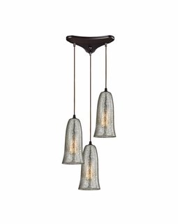 10431/3HME ELK Lighting Hammered Glass 3-Light Triangular Pendant Fixture in Oiled Bronze with Hammered Mercury Glass