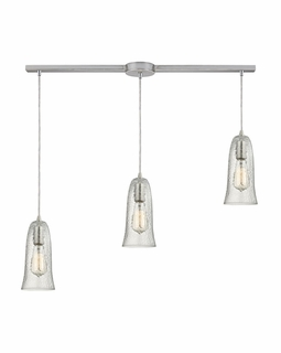 10431/3L-CLR ELK Lighting Hammered Glass 3-Light Linear Pendant Fixture in Satin Nickel with Hammered Clear Glass
