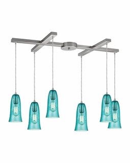 10431/6HAQ ELK Lighting Hammered Glass 6-Light H-Bar Pendant Fixture in Satin Nickel with Hammered Aqua Glass