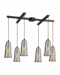10431/6HME ELK Lighting Hammered Glass 6-Light H-Bar Pendant Fixture in Oiled Bronze with Hammered Mercury Glass