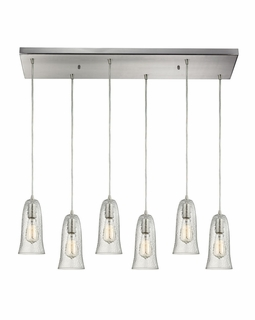 10431/6RC-CLR ELK Lighting Hammered Glass 6-Light Rectangular Pendant Fixture in Satin Nickel with Hammered Clear Glass