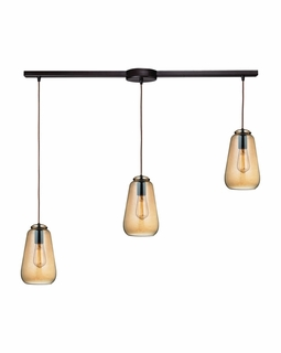 10433/3L ELK Lighting Orbital 3-Light Linear Pendant Fixture in Oil Rubbed Bronze with Light Amber Glass
