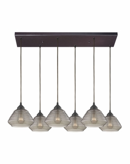 10434/6RC Elk Orbital 6 Light Mini Pendant In Oil Rubbed Bronze And Smoke Glass