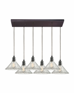 10435/6RC ELK Lighting Hand Formed Glass 6-Light Rectangular Pendant Fixture in Oiled Bronze with Clear Hand-formed Glass