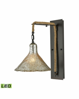 10436/1SCN-LED ELK Lighting Hand Formed Glass 1-Light Wall Lamp in Oiled Bronze with Mercury Glass - Includes LED Bulb